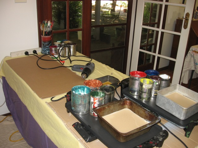 Waxes all set up ready for an exciting session of encaustic art