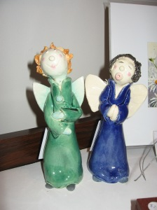 These lovely ceramic angels are about 25 cms high.
